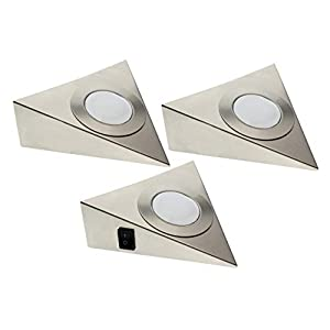 Trango 3er Set LED Unterbauleuchte TG6739-32 / Einbauleuchten / Einbaustrahler / Küchen-Unterbau-Leuchten / Küchenleuchte aus rostfreiem Edelstahl inklusive 3 x 3 Watt 3000K warm-weiß LED Modul