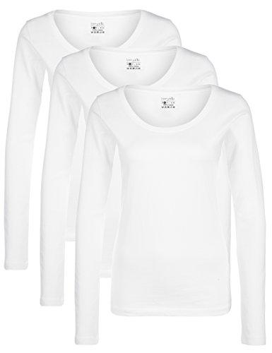 Berydale Damen für Sport & Freizeit, Rundhalsausschnitt Langarmshirt, 3er Pack,, Weiß (Weiß), Small