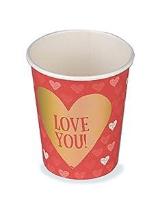 Boland- Vasos de cartón Love You, 6 unidades, 25 cl, multicolor, BOL48006