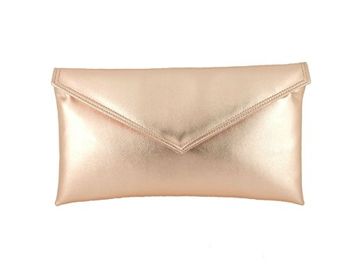 Loni Neat Umschlag Metallic KunstLeder Clutch Tasche/Schulter/Abend Tasche Rosa Gold