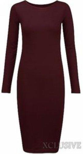 nouvelles femmes plus la taille Maillot manches longues moulante robe midi Wine