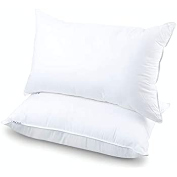 Bed Pillows for Sleeping Down, Alternative Sleeping Pillows for Side Back Sleepers, Fiber Filled Adjustable Fit Sleeping Bed Pillow, White Luxury Hypoallergenic Bed Pillow (Micro- Pack of 2, 16 * 24)