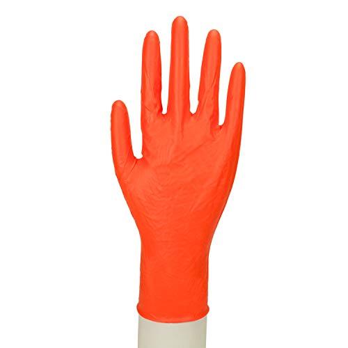 Work-Inn Nitril-Handschuhe Orange   100 Stück - Größe M   Lange Stulpe 27 cm   Einmalhandschuh in praktischer Spenderbox   Ideal für Hygienebereiche - wie Lebensmittel, Kosmetik UVM   latexfrei