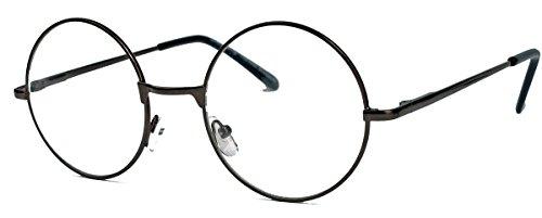 Geek Style Streberbrille mit Metallrahmen Nerdbrille clear lens gold & schwarz (Nickelbrille /...