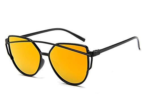 ZHAS High-End-Brillen Sonnenbrillen Damen Twin-Beams Beschichtung Spiegel Sonnenbrille Damen Retro-Kunststoff-Sonnenbrille Personalisierte High-End-Sonnenbrille Rot