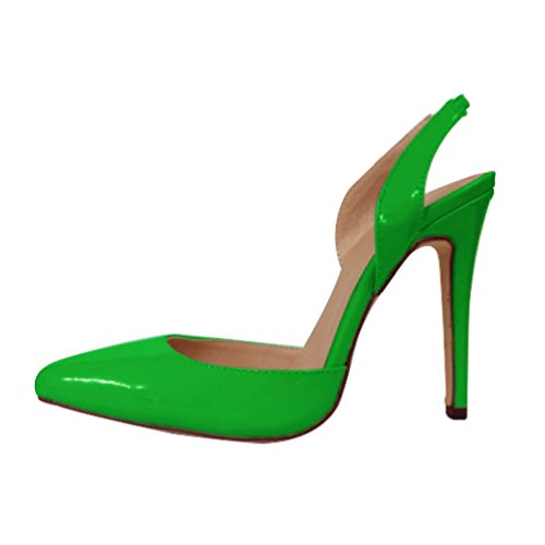 HooH Femmes Pointu Slingback Sandales Stiletto Travail Escarpins Vert