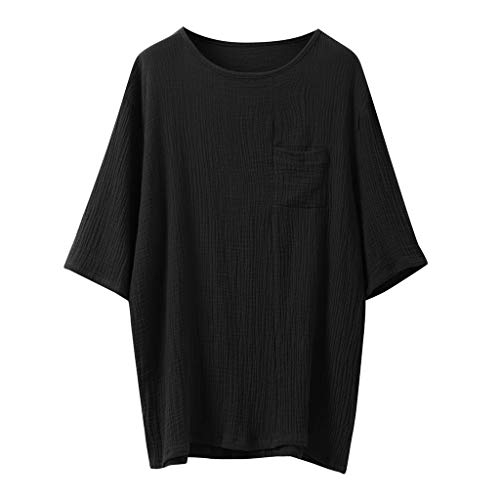 c9f42e6f ASHOP Mens Cotton Linen Solid Color Short Sleeve T Shirts Tops Blouse Black  XXL