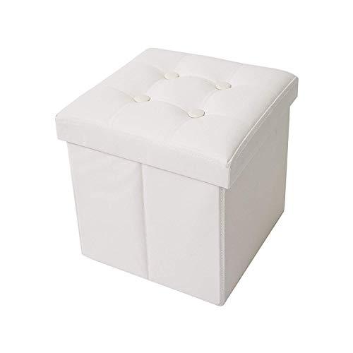 Rebecca mobili pouf contenitore in ecopelle, puffo, puff cubo, poggiapiedi bianco - misure 30 x 30 x 30 cm (hxlxp) - art. re4256