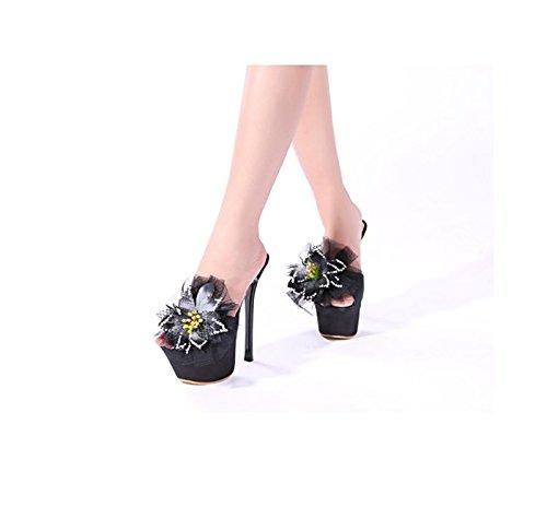 GTVERNH-8.5cm scarpe nere le scarpe con i tacchi a spillo sexy summer diamond flower scarpe a bocca di pesce locale forte pantofole,35 Thirty-seven
