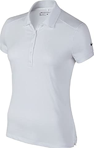Nike Victory Solid Polo manches courtes Femme Blanc/Noir FR : XS (Taille Fabricant : XS)