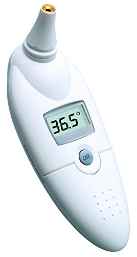 boso bosotherm medical / Digitales Infrarot-Fieberthermometer zur Körpertemperatur-Messung im Ohr mit Leucht-Display und Speicher für die letzte Messung / Inkl. Hygiene-Schutzhüllen