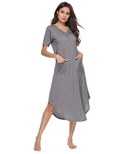 Bett Sleepshirt (Sykooria Nachthemd Damen Lang aus Baumwolle Nachtwäsche V-Ausschnitt High Low Nachtkleid Sleepshirt Umstandskleid Sommer Umstandsnachthemd mit Taschen, S-XXL)