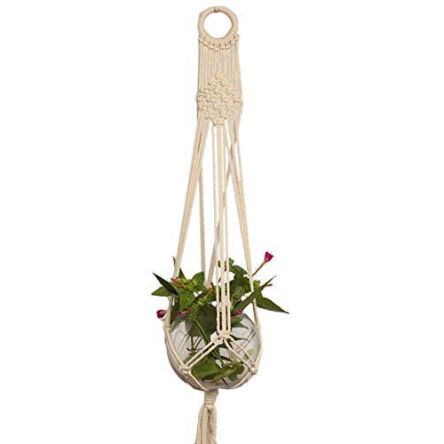 VCB Hanf Geflochtenen Seil Blumentopf Halter Makramee Pflanze Kleiderbügel für Heimtextilien - beige (L) - Makramee-pot-kleiderbügel