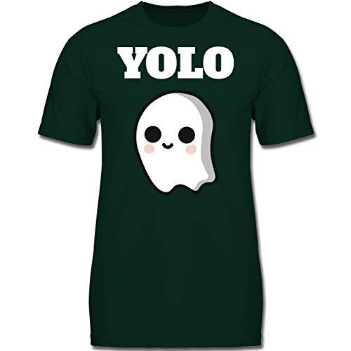 Anlässe Kinder - Geist YOLO Motiv - 152 (12-13 Jahre) - Tannengrün - F130K - Jungen Kinder T-Shirt