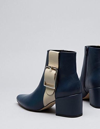 FIND Damen Ankle Boots mit Lederlasche Blau (Blue)