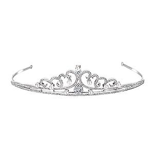 FANZE Damen Kopfschmuck Österreichische Kristall CZ Simulierte Perle Teardrop Edle Braut Prinzessin Crown Tiara Haarband