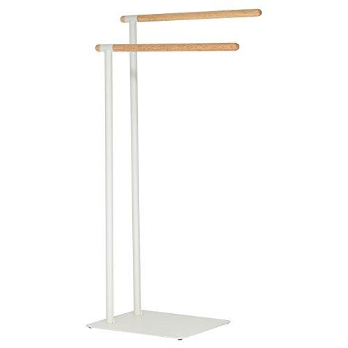 Sealskin Brix Handtuchständer weiß, Handtuchhalter mit einer stilvollen Kombination aus modernem Metall und natürlichem Holz (Holz-handtuchhalter)