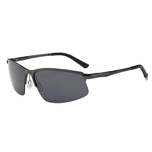 Half Frame Brille Vintage Polarized Sonnenbrillen für Männer Accessoires (Farbe : Schwarz)