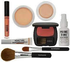 Prime Time Foundation Primer (Set bareMinerals Base Foundation Primer 30ml / Base Primer Shadow/Lipgloss Pink Peach/Base Primer Powder/Concealer / 2 Brushes Powder & Concealer/Blush)