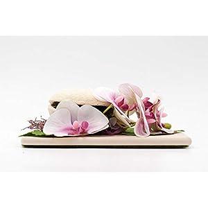 Flaches Tischgesteck mit rosa/pinken Orchideen,Budha Nut,Dattelzweig+Hortensien-exotische Tischdeko mit künstl.Blumen