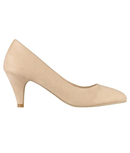 5792-BEI-5, KRISP Zapatos Tacón Salón Elegantes Fiesta, Beige 5792, 38