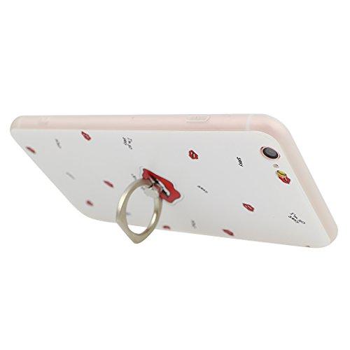 iPhone 6S Plus Schutzhülle, Rosa Schleife Ultra Dünn Slim Case Cover Soft TPU Silikon Hülle Backcover für >                Apple iPhone 6S Plus / iPhone 6 Plus                < in 3D Embossed Muster mit Ring Handy halterung und Fu Rot Lippen