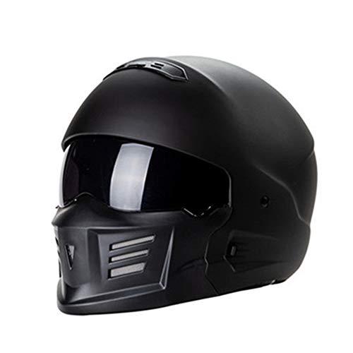 TOL MY Caschi Moto Maschera Viso Aperto, D.O.T Moto retrò Moto da Corsa all'aperto Casco Combinazione Moto Samurai Fantasma Harley Casco Crociera Vintage,B,XL