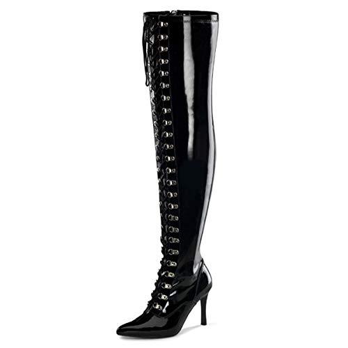 Higher-Heels Funtasma Weitschaft-Stiefel Dominatrix-3024X Lack schwarz Gr. 39
