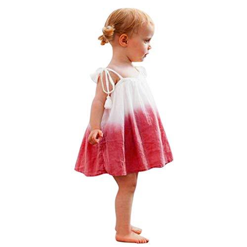 Julhold Kleinkind Baby Mädchen Mode Ärmellos Spleiß Farbverlauf Lässig Baumwollkleid Kleidung Strandkleid 0-3 Jahre