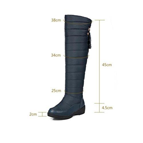 QPYC Ginocchio da donna Boot di neve impermeabile in tessuto superiore con rivestimento traspirante durevole. Suola esterna in gomma di spessore inferiore Ideato per una maggiore vestibilità e comfort blue