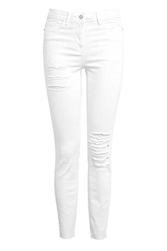 next Damen Zerschlissene Skinny Jeans Weiß EU 44 Regular (UK - Jeans Zerschlissene