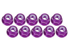 3Racing RC Modélisme 3RAC-NF30/PU 3mm Aluminum Flanged Lock Nuts (10 Pcs) - Purple