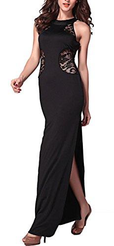 Abito donna lungo abito sera party vestito lungo festa ricamato pizzo Nero