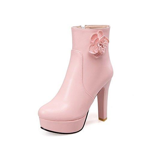 AllhqFashion Damen Niedrig-Spitze Rein Reißverschluss Hoher Absatz Stiefel mit Schleife, Pink, 40