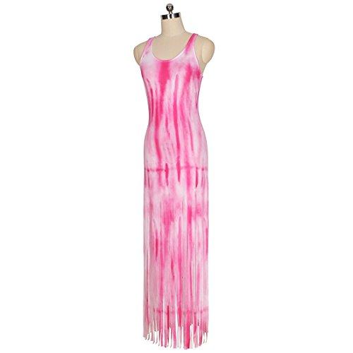 QIYUN.Z Femme Décontractée Colorée Imprimé Tassel Hems Robe Sans Manches Longue Robe De Plage Rose