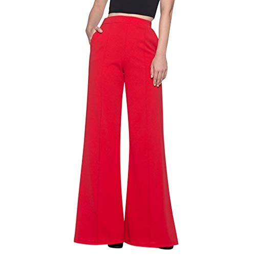MOTOCO Damenhose mit hoher Taille Lose Reißverschlusstasche Lässige einfarbige Plissierte Hose mit weitem Bein(M,Rot)