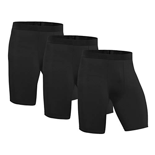 Niksa Sport tights männer 3er Pack sportunterhosen kurz kompressionshosen Schwarz funktionsunterwäsche herren Spandex hochwertig & eng anliegend (M)