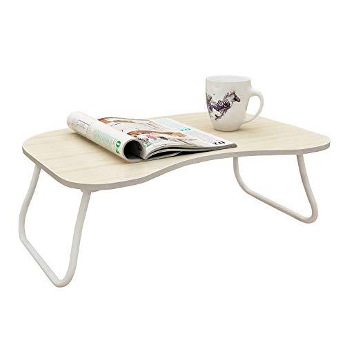 mulsh Laptop Schreibtisch Notebook Tisch Computer Ständer faltbar Frühstück Servieren Tablett für Sofa Bett mit Metall Beinen und MDF Top Board, Weiß, Eiche, U-Shape Heavy Duty Tray