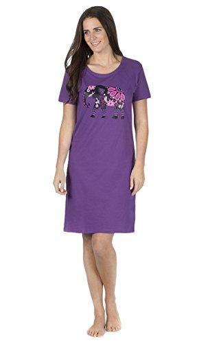 Damen Kurzärmliges Trikot Spaß Aufdruck Nachthemd Nachthemd nachthemd Nachtwäsche lila Elefant