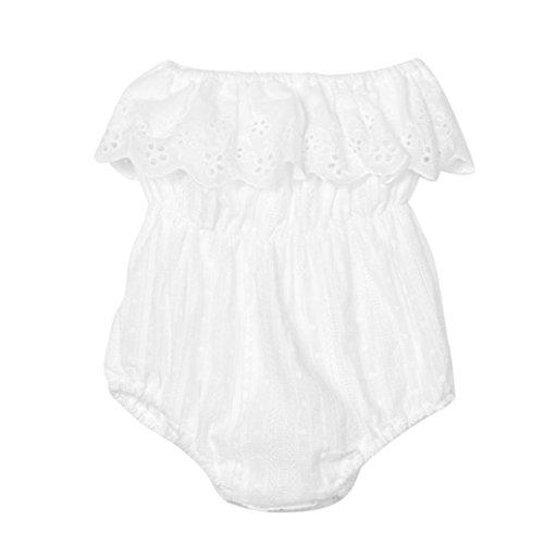 Longra Enfant Bébés Filles Mamelon Combinaison de Corps Dentelle Sunsuit Vêtements Outfits(0-3 ans) (24M, Blanc)