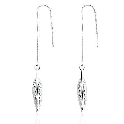 Daesar 2 Stück Ohrringe für Damen Kupfer Blätter Silber Farbe Frauen - Afrikanische Religion Vol 2