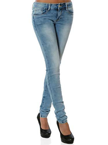 Damen Skinny Jeanshose Push-Up Stretch DA 15955 Blau S / 36
