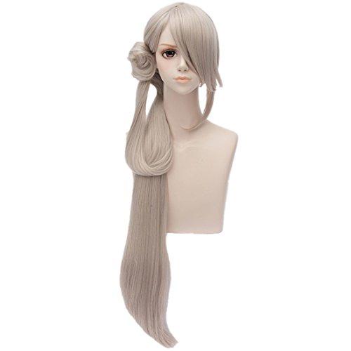 Anime Frauen Grau Langen Geraden Haar Cosplay Volle Perücke Partei Haarperücken + Haarknoten