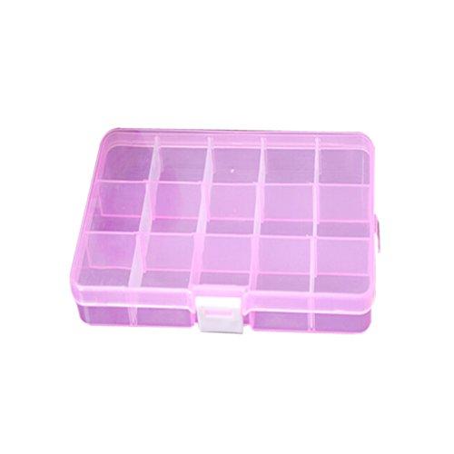 LUFA 15 slot gioielli Beads regolabile Storage Box Caso Organizer rosa