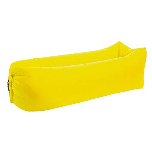 Aufblasbares Couch, Leichter Schlafsack Wasserdichter Aufblasbarer Schlafsack Lazy Sofa Camping Schlafsäcke Luftbett Adult Beach Lounge Chair,Yellow