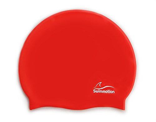 Swimmotion - Badekappe / Badehaube - Rutschfest und sehr elastisch - für kurze und lange Haare - In mehreren Farben (Rot)