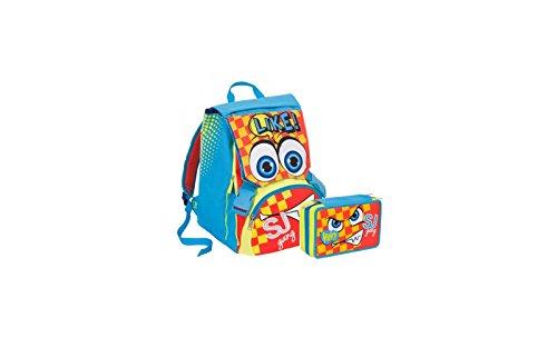Zaino scuola sdoppiabile SJ - BOY - Azzurro Giallo Arancione - FLIP SYSTEM - 28 LT 3 pattine sfogliabili elementari e medie + ASTUCCIO scuola SEVEN - SJ FACCINE - 3 scomparti