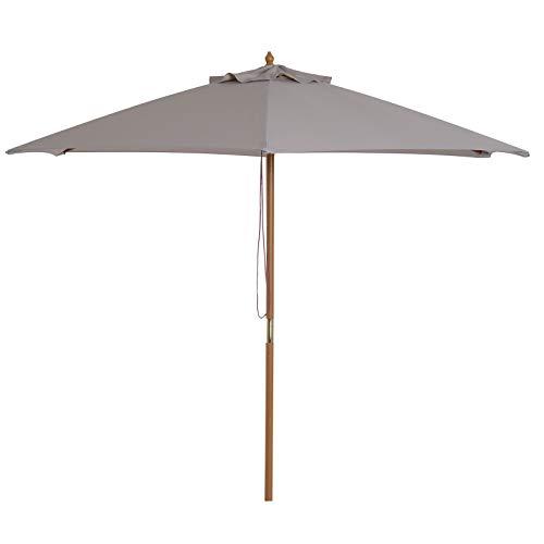 Outsunny Parasol Droit Rond Grande Taille de Jardin Ø 2,5 x 2,25H m Bois de Bambou Gris