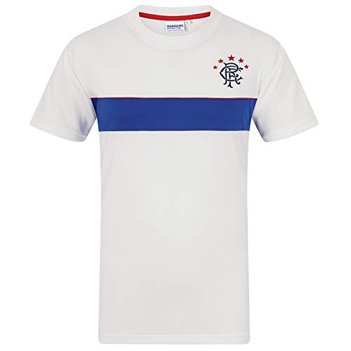 Rangers FC Official Gift Mens Poly Training Kit T-Shirt White Royal Stripe  Small 281fb1e16