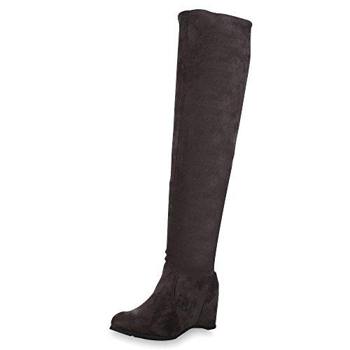 SCARPE VITA Damen Stiefel Keilabsatz Overknees Veloursoptik Boots 152202 Grau Samtoptik 36